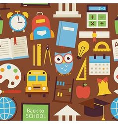 Flat Seamless Pattern Back to School and Education vector image
