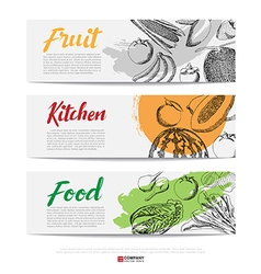 Food hand draw banner vector