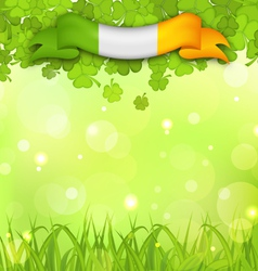 glowing nature background with shamrocks grass and vector image vector image
