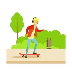 Guy in headphones on skateboard on the street vector