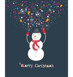 Happy cartoon christmas snowman vector image