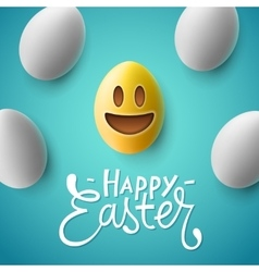 Happy Easter easter eggs with smiling emoji face vector image vector image