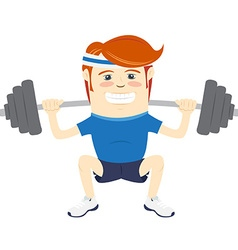 Hipster funny man squatting with barbell flat vector