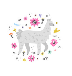 Lovely lama drawing vector