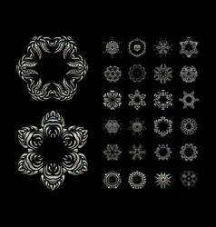 mandala silver round ornament pattern vector image