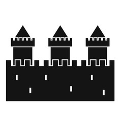 Medieval wall and towers icon simple style vector