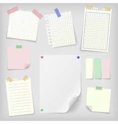 Post-it set of sticky notes and notebook paper vector image vector image