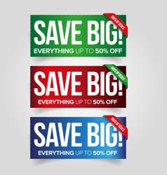 Save big - sale web banner set vector image vector image
