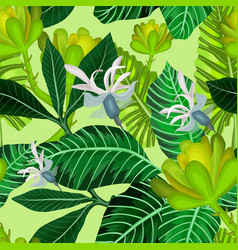 seamless pattern with tropical trees and flowers vector image