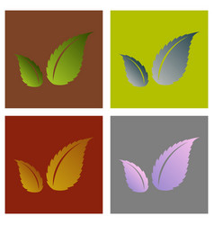 Set of flat leaves logo template vector