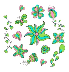 Set of floral doodles vector image vector image