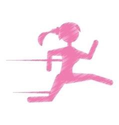 Silhouette girl running jogging sport vector