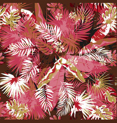 Tropical floral seamless palm trees pattern a vector