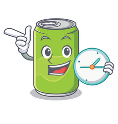 with clock soft drink character cartoon vector image