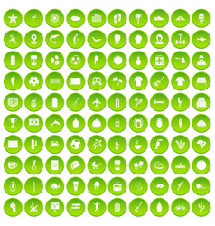 100 south america icons set green circle vector