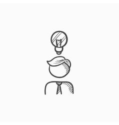 Businessman with idea sketch icon vector