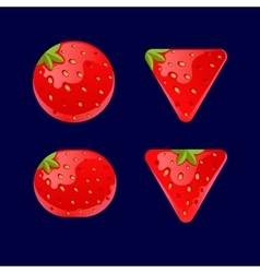 Cartoon red buttons strawberry kit for game ui vector