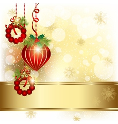 Christmas ornament on gold color background vector