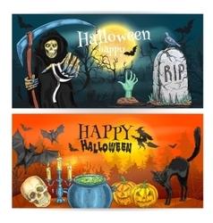 Happy Halloween decoration banners vector image
