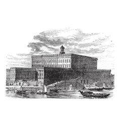 Stockholm palace vintage engraving vector