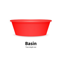Plastic basin for washing dishes clothes vector