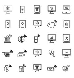 Online banking line icons on white background vector