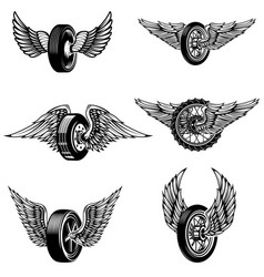 Set of winged car tires on white background vector