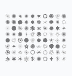 Complete set of 80 stars rays signs and symbols vector