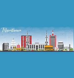 Khartoum skyline with gray buildings and blue sky vector