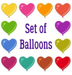Holiday heart shaped balloons set vector