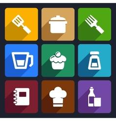 Kitchen flat icons set 24 vector image