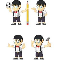 Nerd boy customizable mascot 5 vector