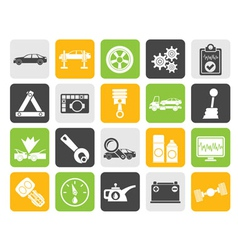 Silhouette car services and transportation icons vector