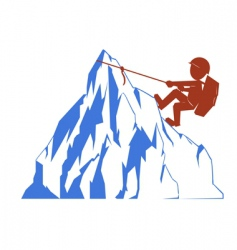 Climber and mountain vector
