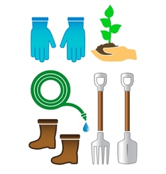 Set gardening color tools vector