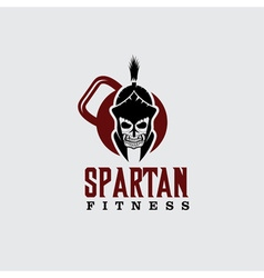 Skull spartan warrior fitness design template vector