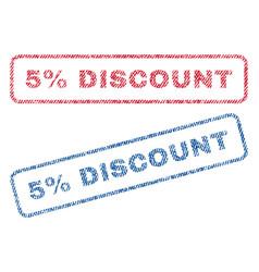 5 percent discount textile stamps vector