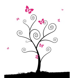 Cartoon tree with group of pink butterflyes vector