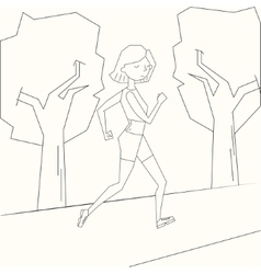 Girl run morning street black and white vector