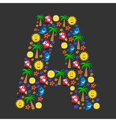 The english letter a with a cheerful pattern vector
