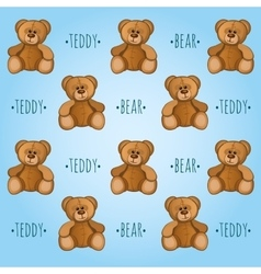 Blue background with teddy bears vector