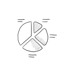 Pie chart sketch icon vector
