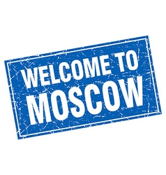 Moscow blue square grunge welcome to stamp vector