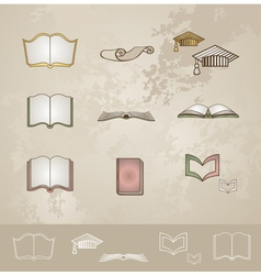 Vintage education icons set vector