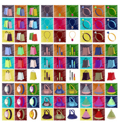 assembly flat shading style icons accessories vector image vector image