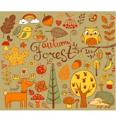 Autumn forest design elements in doodle style vector