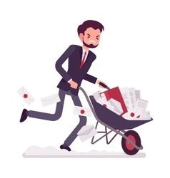 Businessman pushing a wheelbarrow full of paper vector