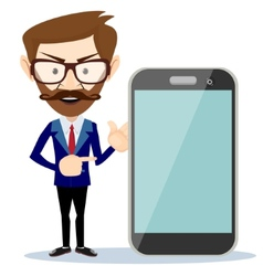 Businessman showing phone smartphone vector