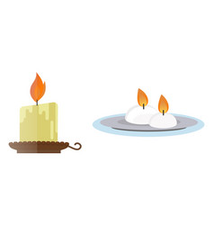 Candles romantic wax party decoration vector