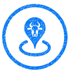 Cattle location rounded grainy icon vector